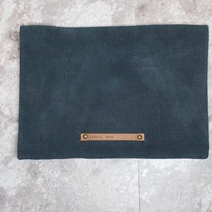 Anthropologie Schuler & Sons Green Leather Clutch